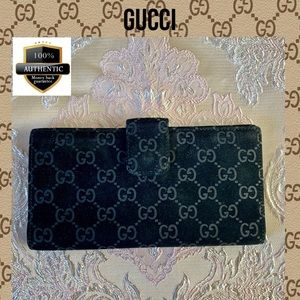 Gucci wallet LONG suede LEATHER GG BLACK